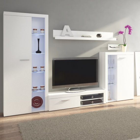 Tempo Kondela Obývací stěna ROCHESTER - bílá + kupón KONDELA10 na okamžitou slevu 10% (kupón uplatníte v košíku)