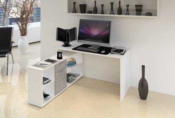 Tempo Kondela PC stůl NOE NEW - bílá / beton + kupón KONDELA10 na okamžitou slevu 10% (kupón uplatníte v košíku)