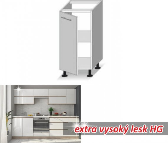Tempo Kondela Kuchyňská skříňka LINE WHITE D40