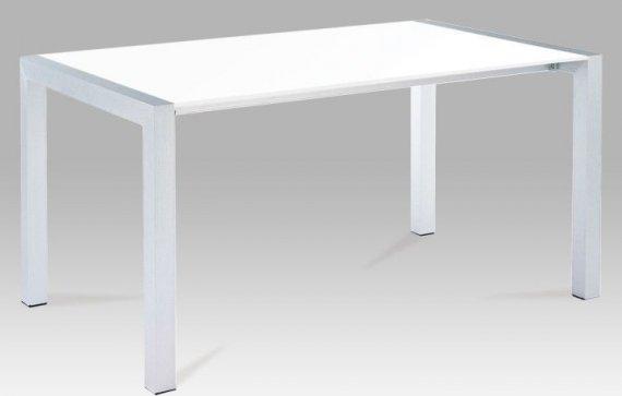 Tempo Kondela Jídelní stůl DARO - bílá extra vysoký lesk HG / stříbrná + kupón KONDELA10 na okamžitou slevu 3% (kupón uplatníte v košíku)