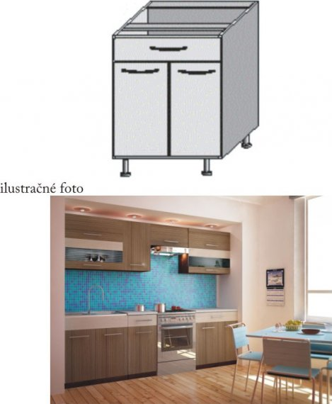 Tempo Kondela Kuchyňská skříňka JURA NEW I D- S1 + kupón KONDELA10 na okamžitou slevu 10% (kupón uplatníte v košíku)