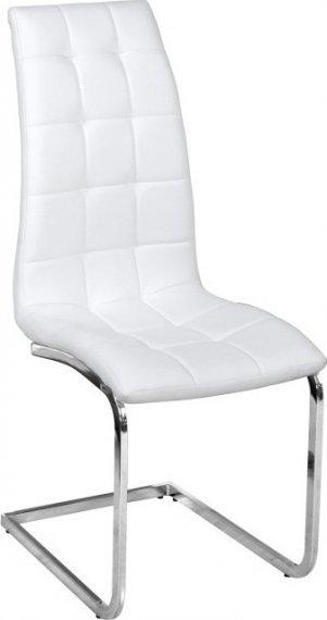 Tempo Kondela Jídelní židle DULCIA - bílá ekokůže / chrom + kupón KONDELA10 na okamžitou slevu 10% (kupón uplatníte v košíku)