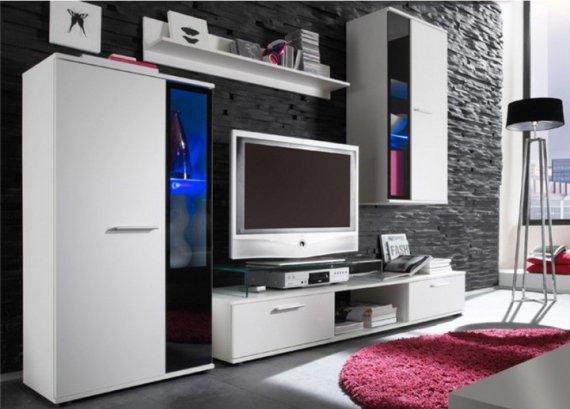 Tempo Kondela Obývací stěna SALESA - bílá + kupón KONDELA10 na okamžitou slevu 10% (kupón uplatníte v košíku)