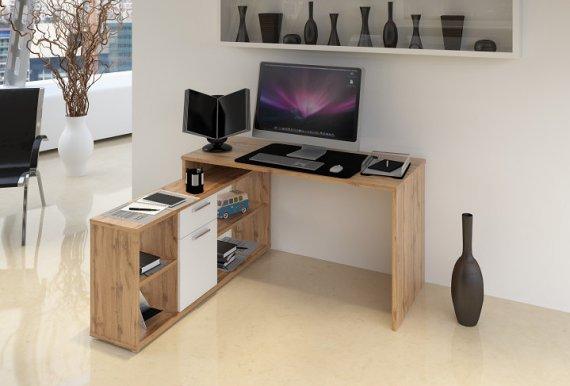 Tempo Kondela PC stůl NOE NEW - dub Wotan / bílá + kupón KONDELA10 na okamžitou slevu 10% (kupón uplatníte v košíku)