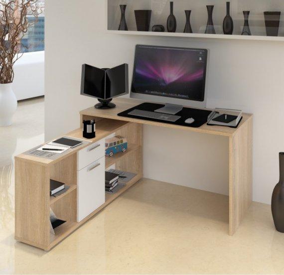 Tempo Kondela PC stůl NOE NEW - dub sonoma / bílá + kupón KONDELA10 na okamžitou slevu 10% (kupón uplatníte v košíku)
