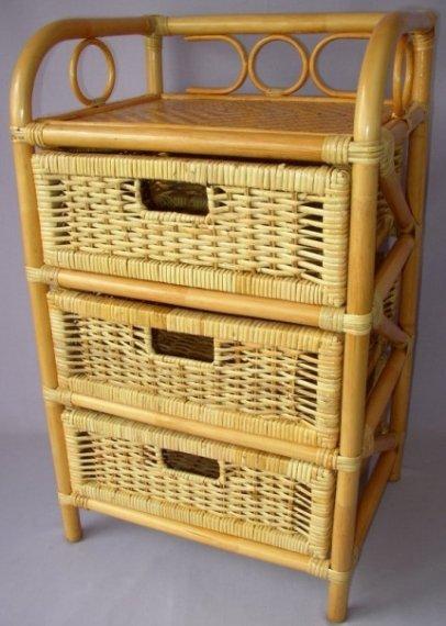 Axin Trading Ratanová komoda 3 zásuvky - medová