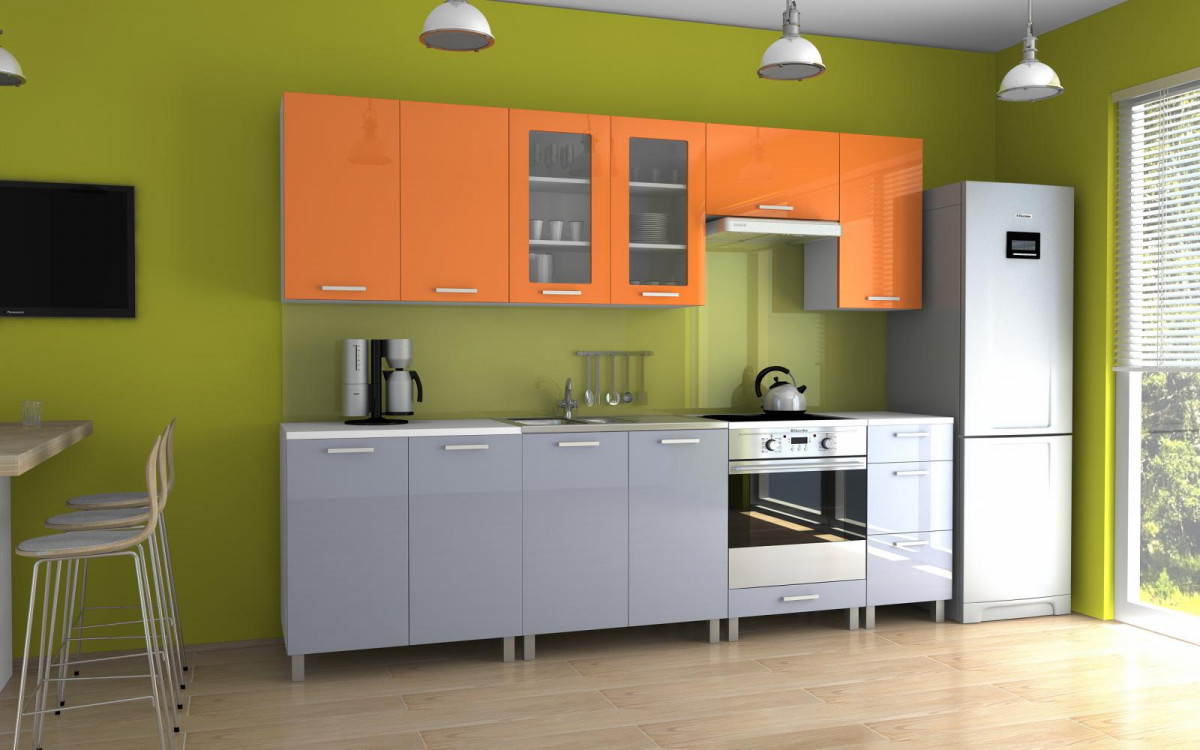 Falco Kuchyňská linka Parkour 260 oranžový+šedý lesk/KRF