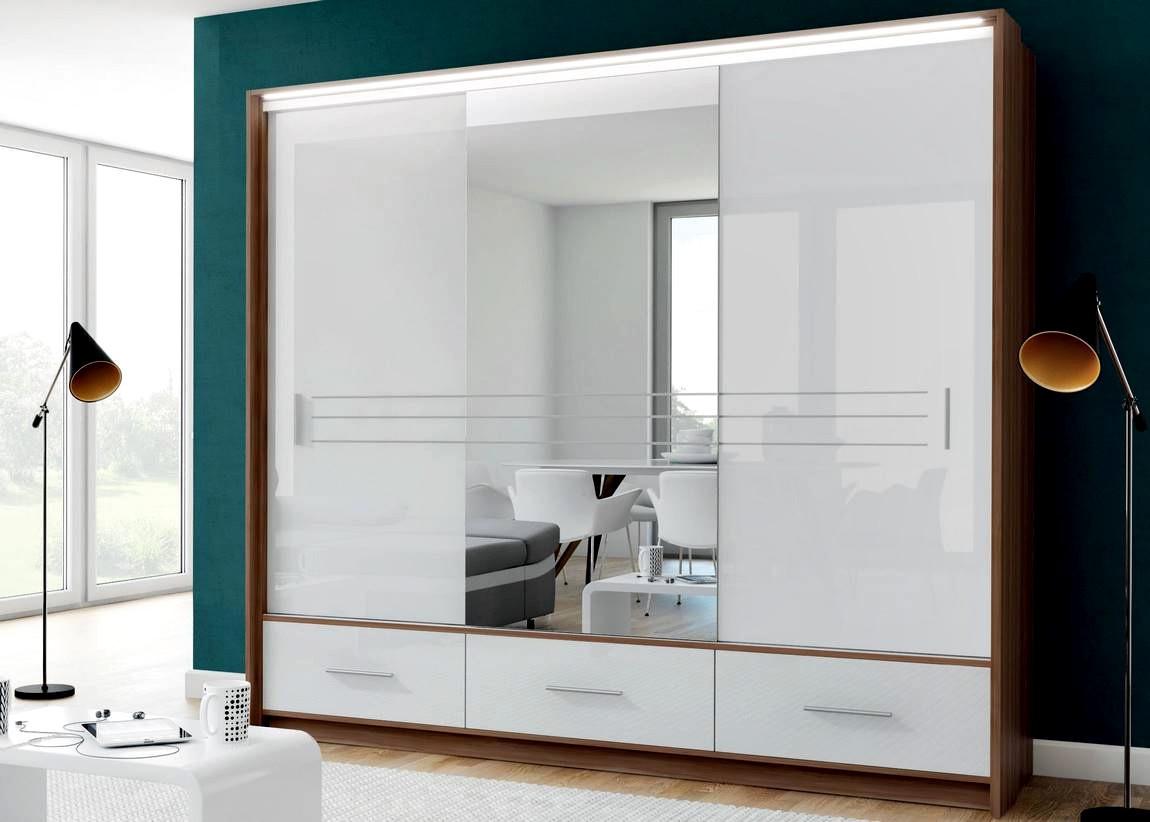 Casarredo Šatní skříň AMSTERDAM 250L se zrcadlem bílá