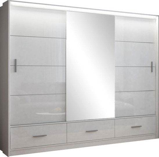 Casarredo Šatní skříň MARSYLIA 250 bílá s osvětlením