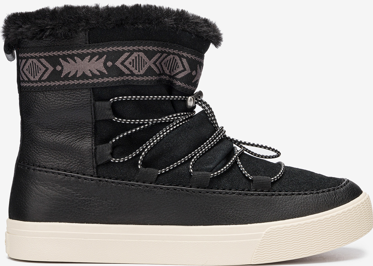 Boty Toms Black WR Leather/Suede/Faux Fur