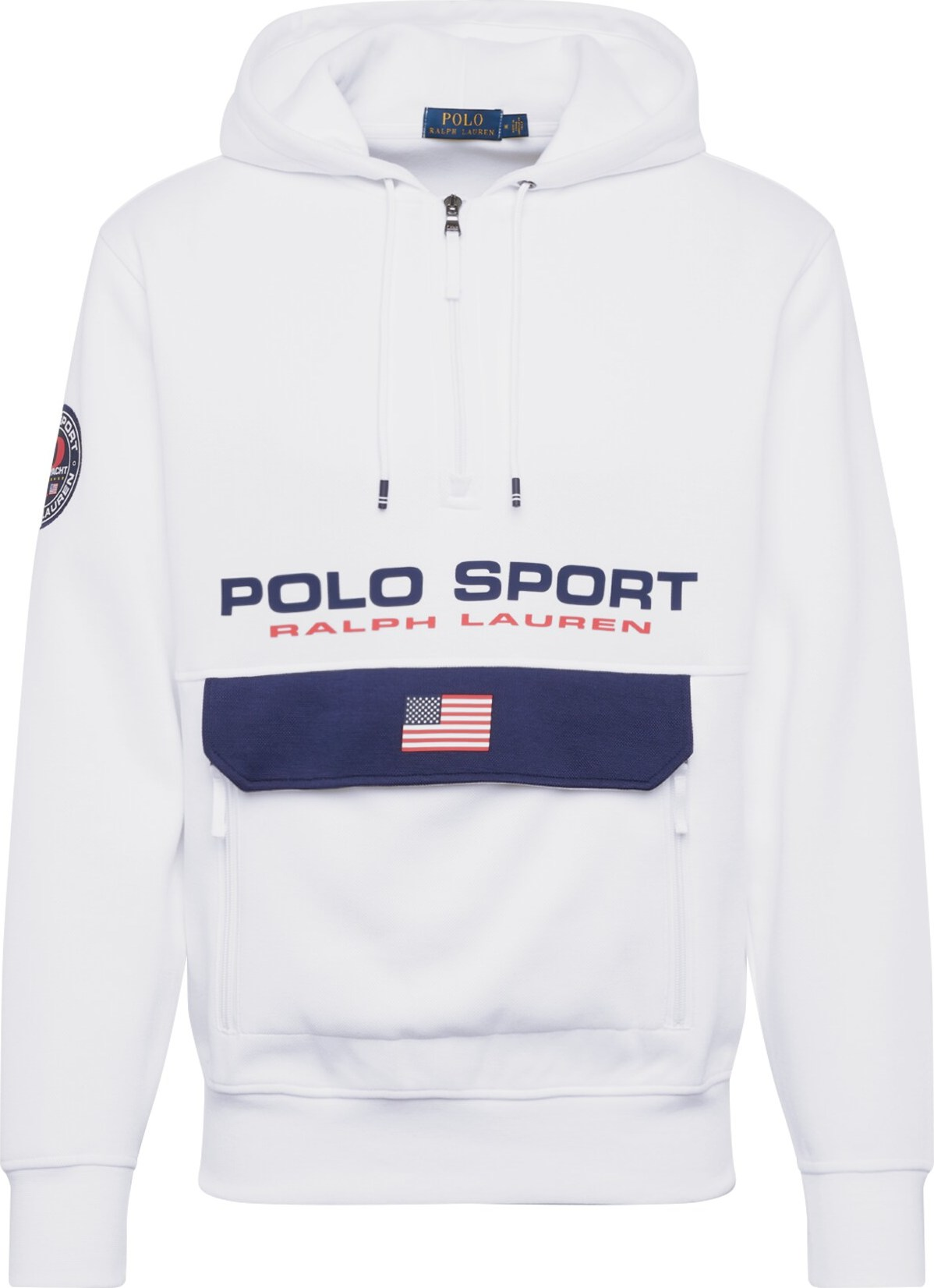 POLO RALPH LAUREN Mikina LSPOHOODM1-LONG SLEEVE-KNIT bílá Polo Ralph Lauren