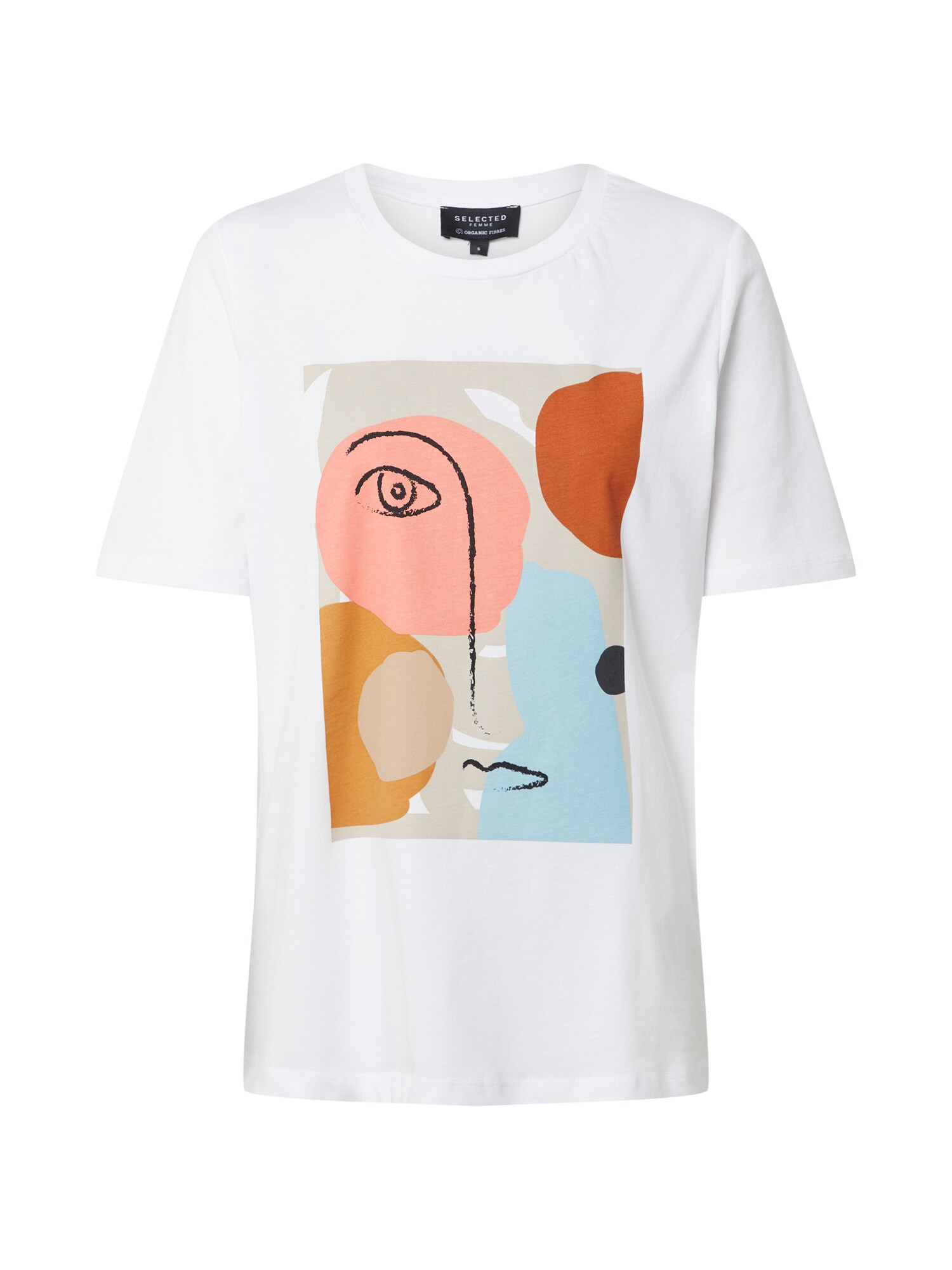 SELECTED FEMME Tričko Abstract Face mix barev bílá Selected Femme