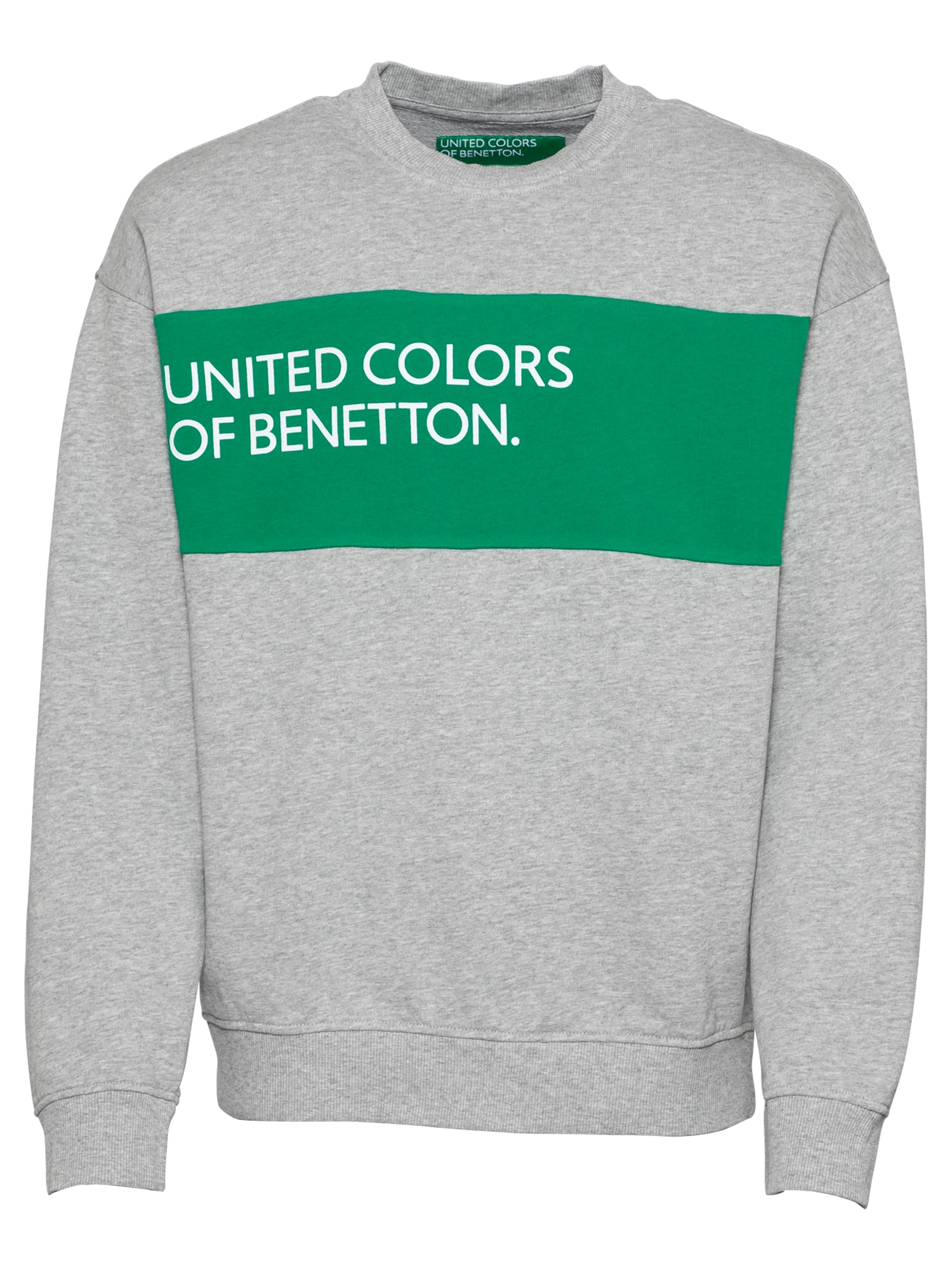 UNITED COLORS OF BENETTON Mikina šedá trávově zelená bílá United Colors of Benetton