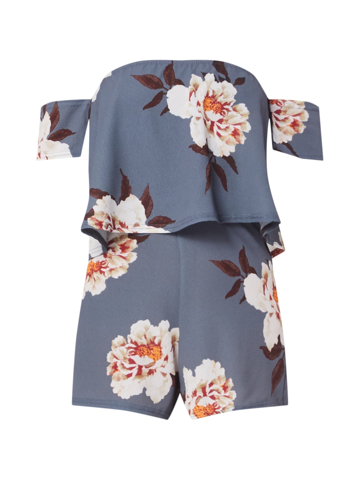 Overal GREY FLORAL BARDOT PLAYSUIT šedá Missguided