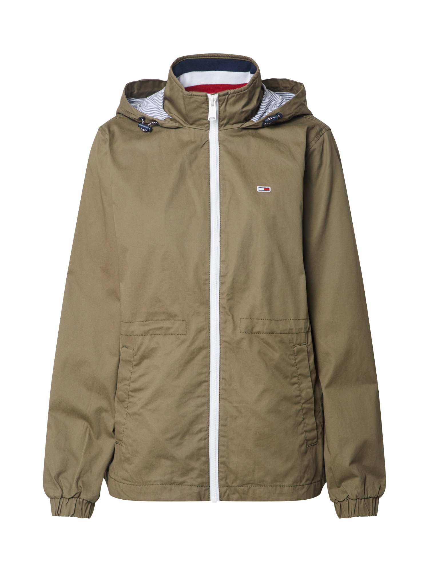 Přechodná bunda TJW HOODED WINDBREAK olivová Tommy Jeans
