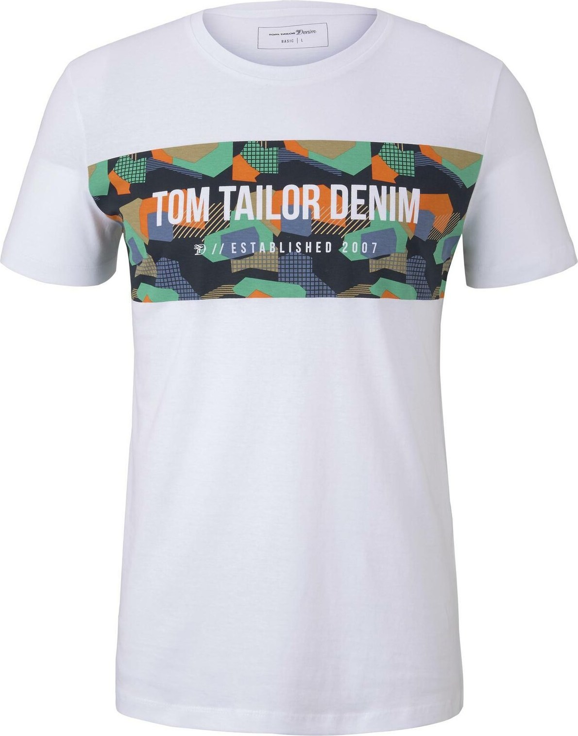 TOM TAILOR DENIM Tričko bílá mix barev Tom Tailor Denim