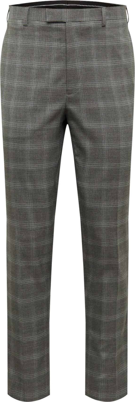 BURTON MENSWEAR LONDON Chino kalhoty GREY FINE CHECK SKINNY šedá Burton Menswear London