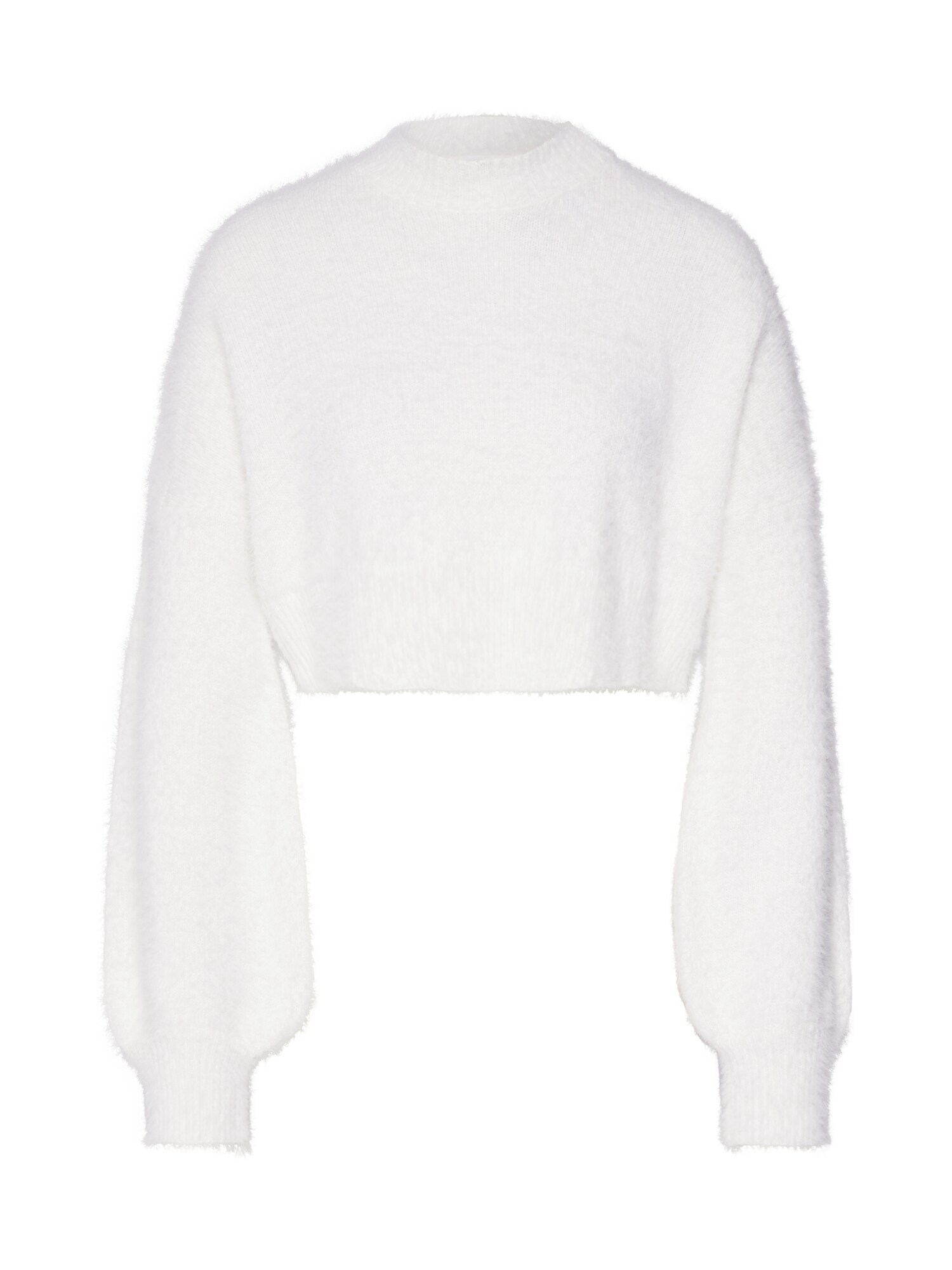 Svetr HIGH NECK FLUFFY BALOON SLEEVE JUMPER bílá Missguided
