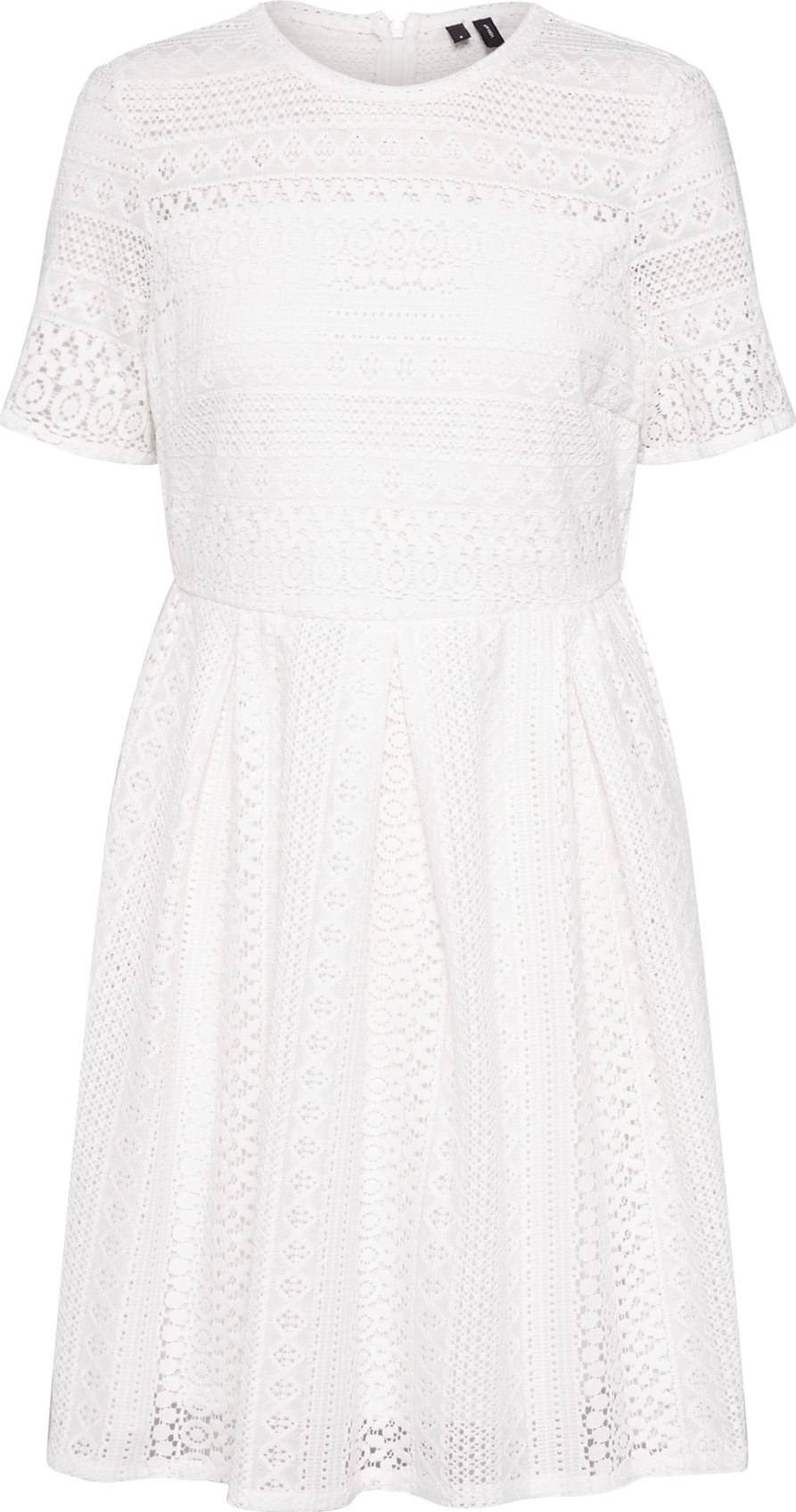 VERO MODA Šaty VMHONEY LACE PLEATED SS DRESS EXP bílá Vero Moda