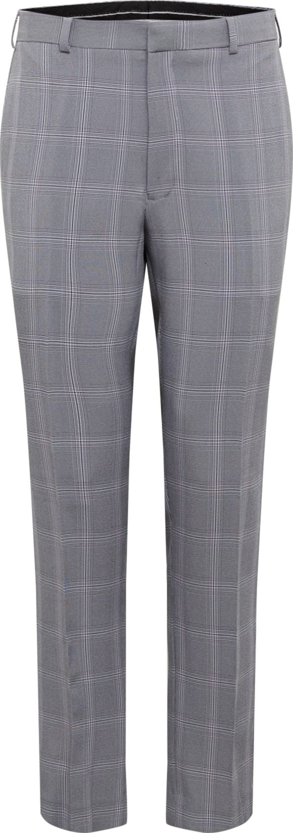BURTON MENSWEAR LONDON Chino kalhoty LIGHT GREY GRAPHIC CHECK šedá Burton Menswear London