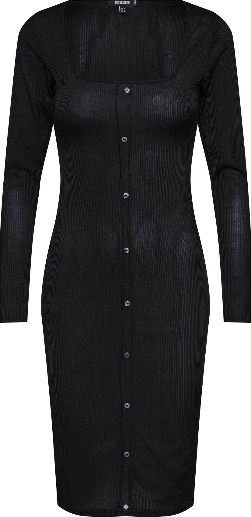 Šaty Slinky Ribbed Long Sleeved Button Front Midi Dress černá Missguided