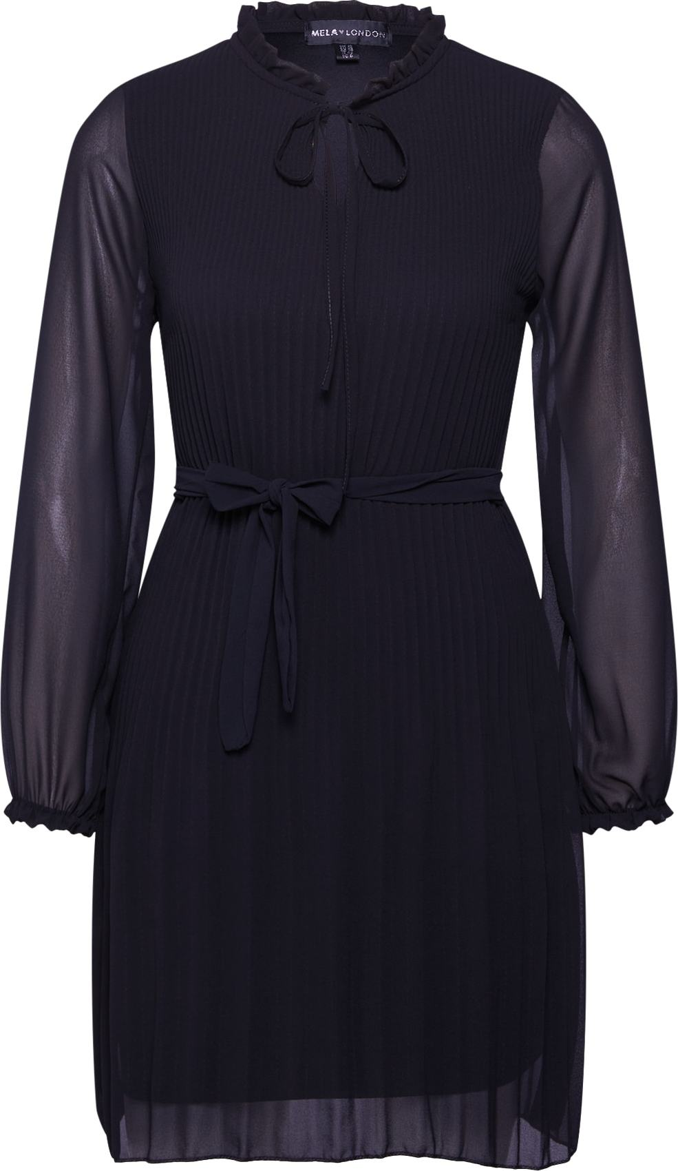 Šaty LONG SLEEVE PLEATED BELTED DRESS černá Mela London