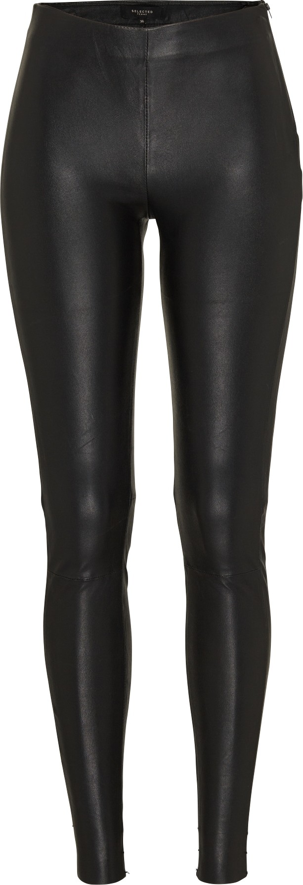 SELECTED FEMME Kalhoty SFSYLVIA MW STRETCH LEATHER černá Selected Femme