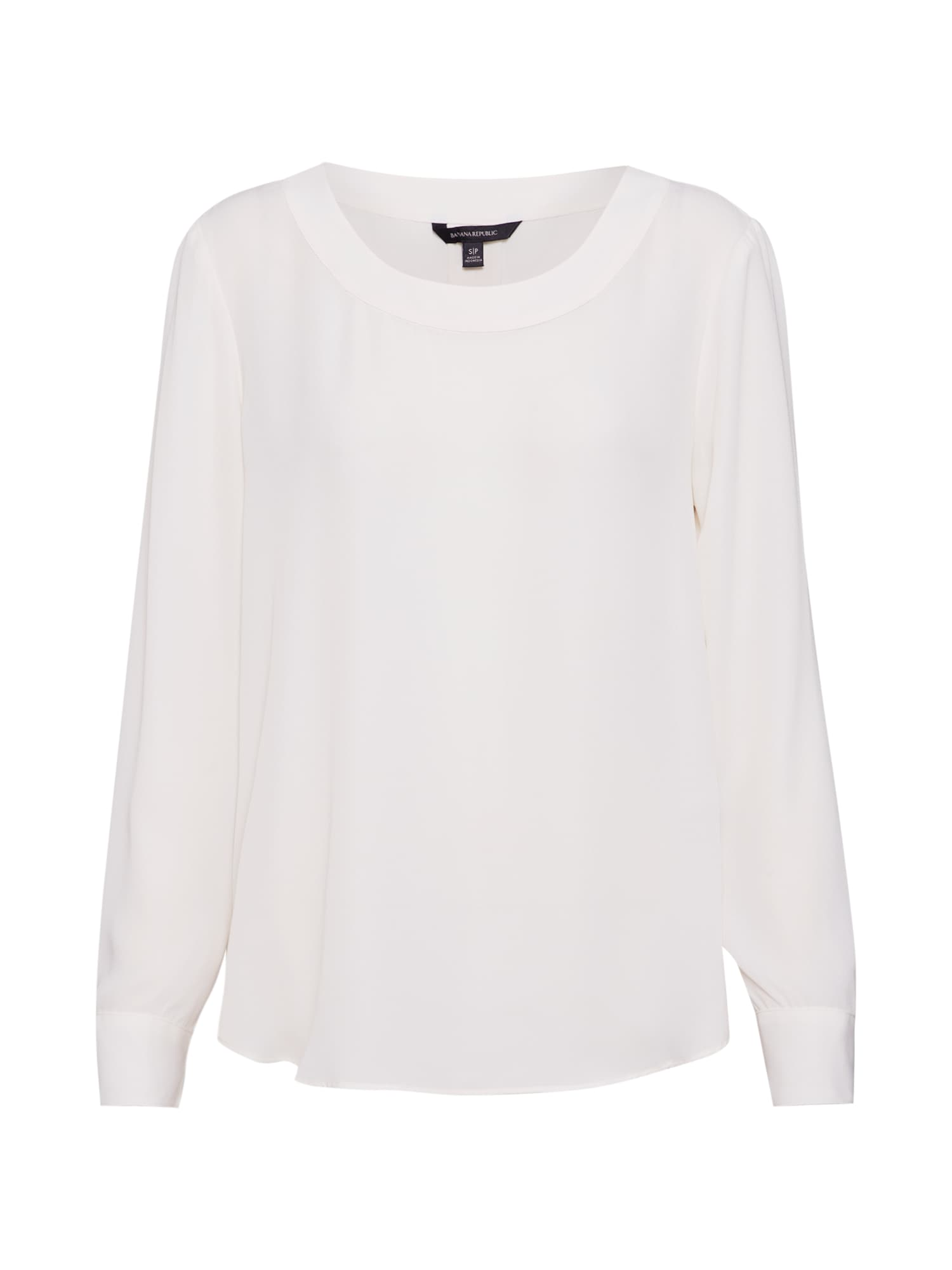 Halenka LS PLEAT BACK CREW BLOUSE bílá Banana Republic