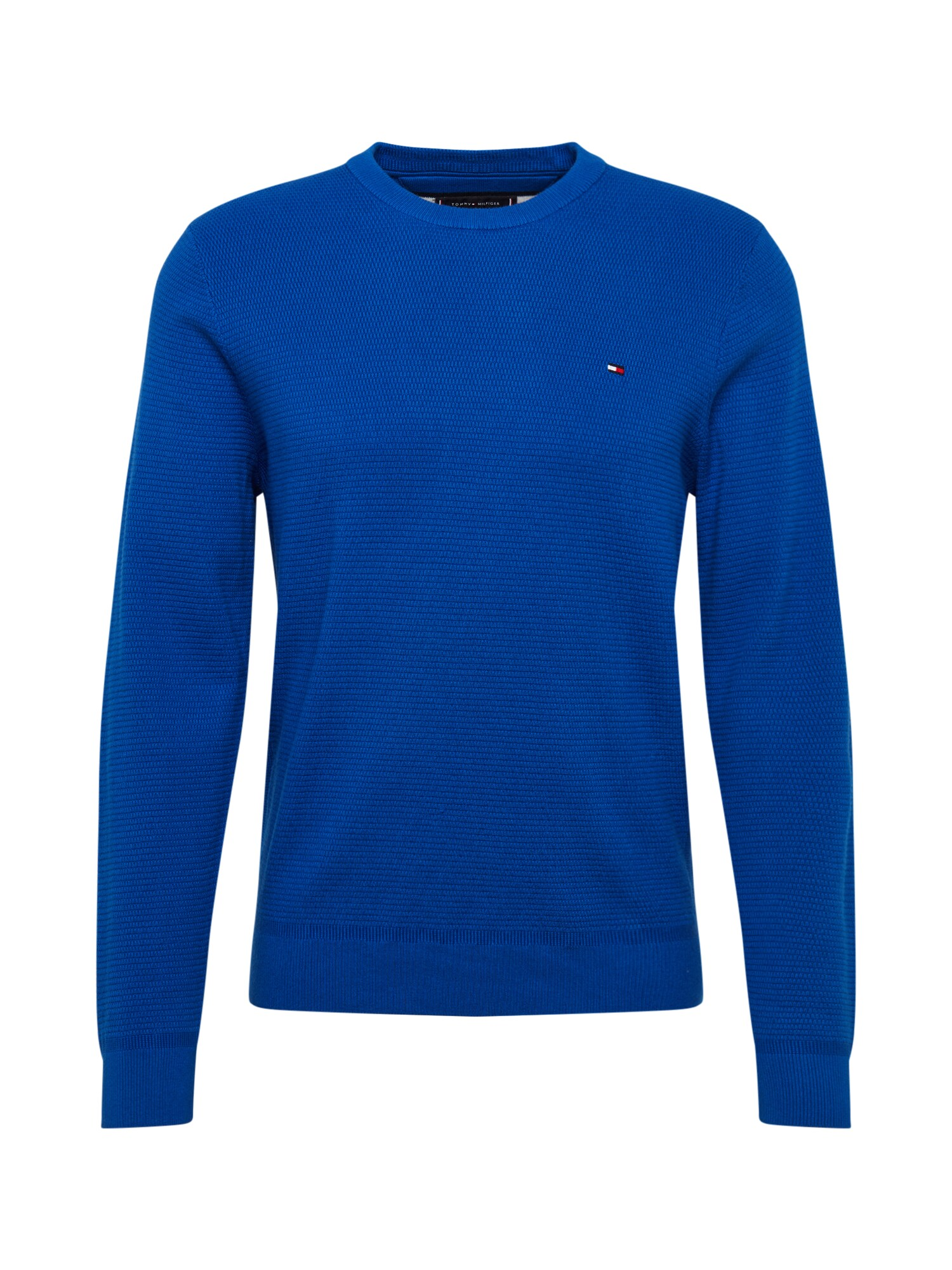 TOMMY HILFIGER Svetr STRUCTURED COTTON CREW NECK kobaltová modř Tommy Hilfiger
