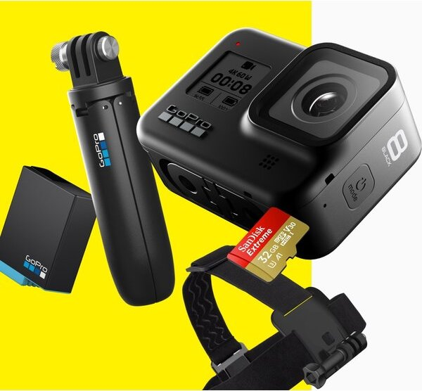 GoPro HERO8 Black čelenka shorty baterie 32GB SD karta