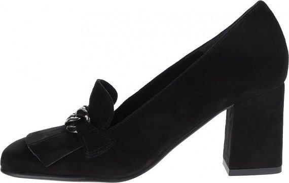 9acc6935c21 Černé kožené boty na podpatku v semišové úpravě s kovovým páskem Tamaris »