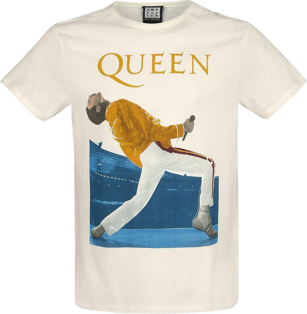 Levně Queen Amplified Collection - Freddie Mercury Triangle Tričko šedobílá