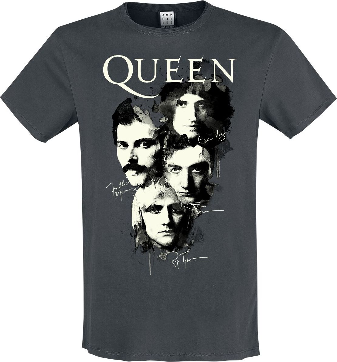 Queen Amplified Collection - Autographs tricko charcoal
