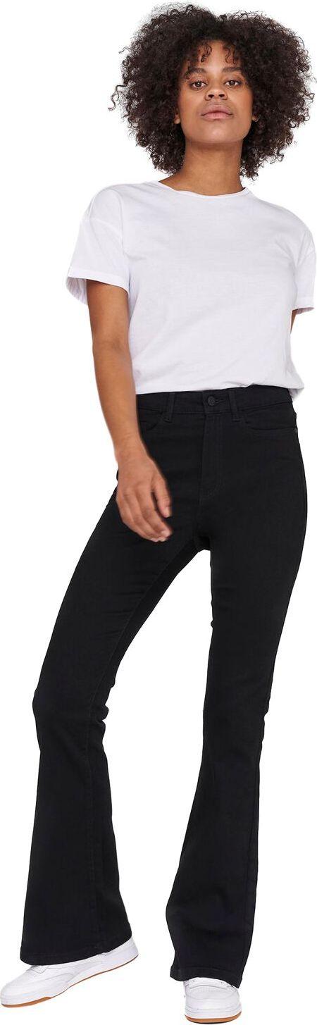 Levně Noisy May Rozšírené džínsy s vysokým pásom Sallie Dámské džíny černá