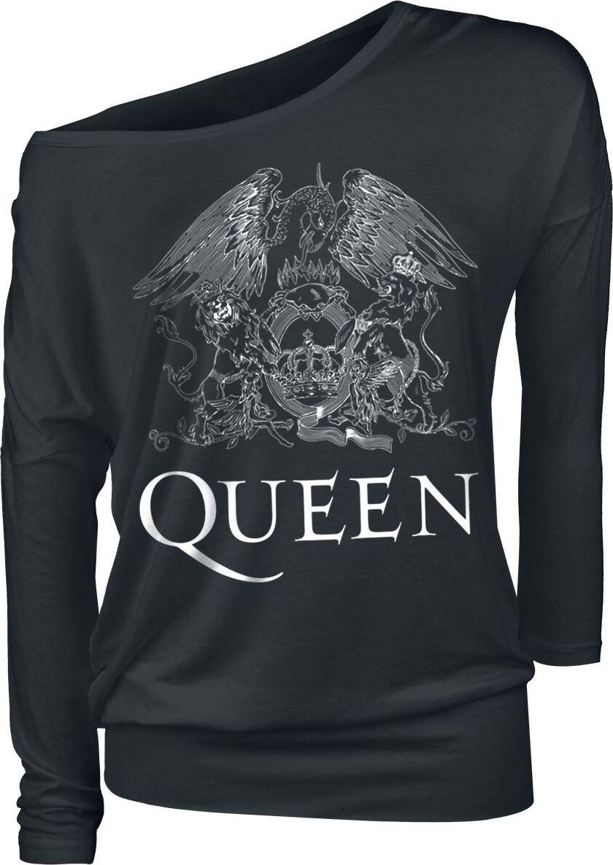 Queen Crest Vintage dívcí triko s dlouhými rukávy černá