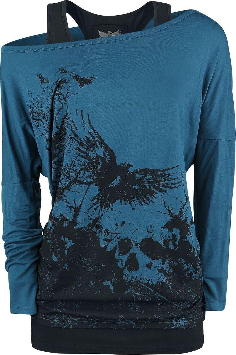 Black Premium by EMP Busting Loose dívcí triko s dlouhými rukávy cerná/modrá