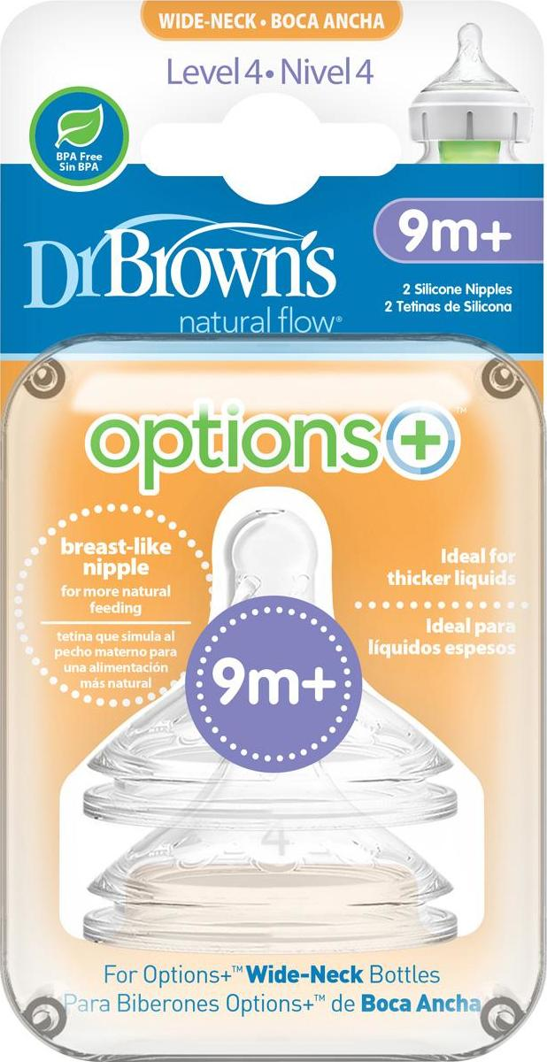 DrBrown´s Options Wide-Neck Baby Bottle Nipple Level 4 savičky 2 ks