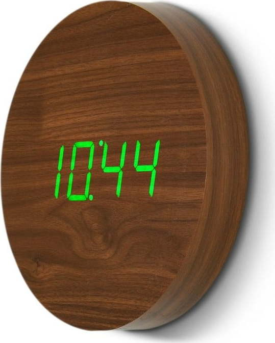 Hnědé nástěnné hodiny se zeleným LED displejem Gingko Wall Miss Sixty