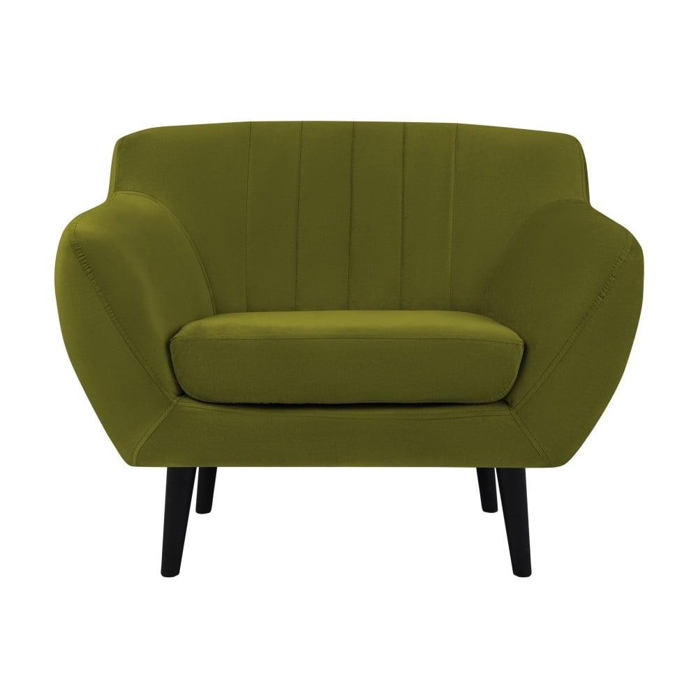 Zelené křeslo Mazzini Sofas Toscane, černénohy