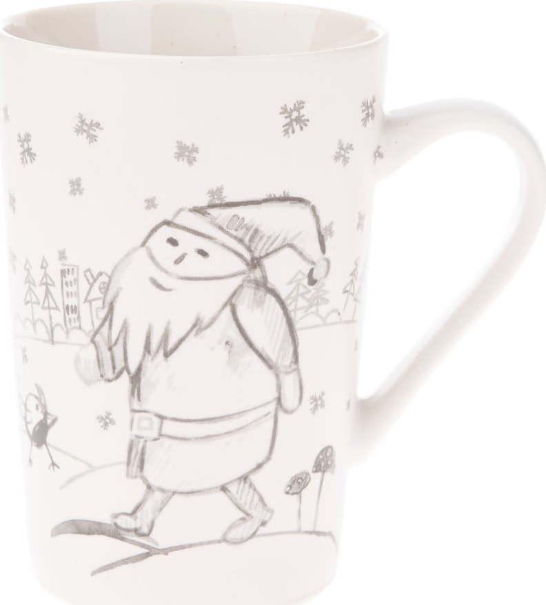 Bílý porcelánový hrneček s motivem Santa Clause Dakls