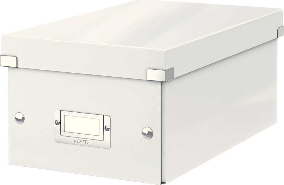 Bílá úložná krabice s víkem Leitz DVD Disc, délka 35 cm