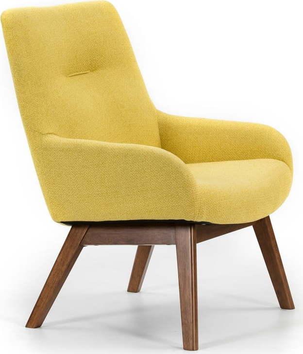 Žluté křeslo s dřevěnými nohami Marckeric Messina