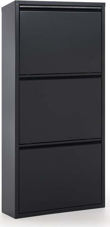 Černý kovový botník se 3 výklopnými zásuvkami La Forma Rox