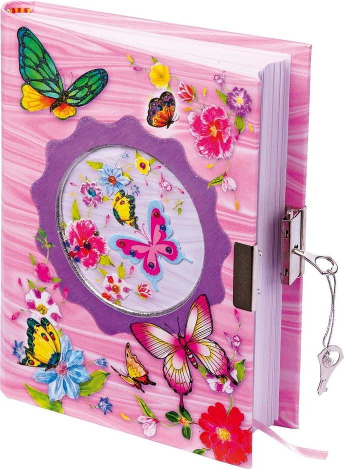 Dětský růžový deníček se zámkem a 2 klíčky Legler Butterfly