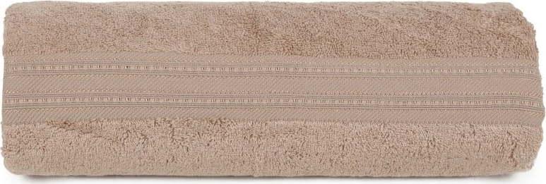 Hnědá osuška z bavlny a bambusového vlákna Lavinya, 70 x 140 cm
