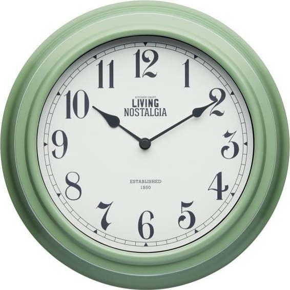Zelené nástěnné hodiny Kitchen Craft Living Nostalgia, Ø 25,5cm Miss Sixty