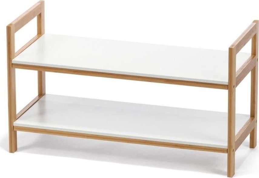 Bílý dvoupatrový botník s bambusovou konstrukcí loomi.design Lora
