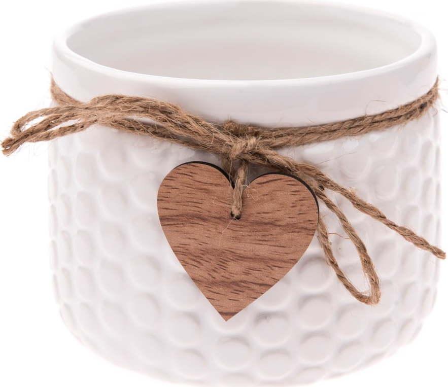 E-shop Bílý keramický květináč Dakls Mona, výška 12,5 cm