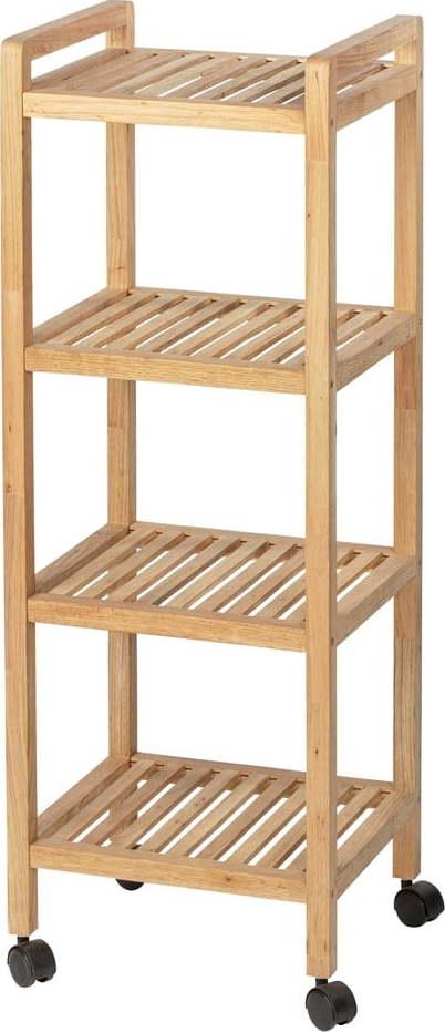 Dřevěná čtyřpatrová police do koupelny na kolečkách Wenko Norway