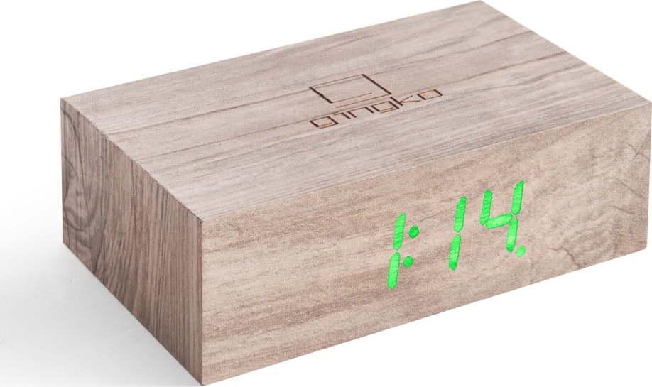 Šedý dřevěný LED budík Gingko Flip Click